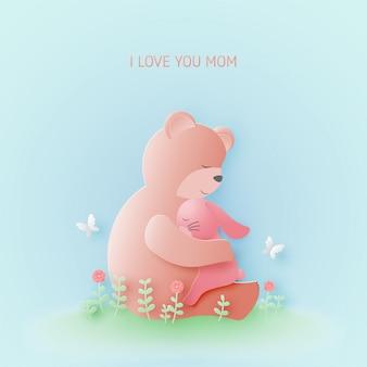 Glückliche muttertagsgrußkarte mit bärenumarmungsbabykaninchen auf blumenfeldern im papierschnittstil.