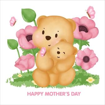 Glückliche muttertagsgrußkarte mit niedlichem teddybär und ihrem baby.