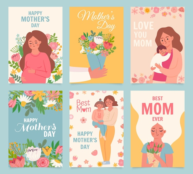 Glückliche muttertagskarte. beste mutter aller zeiten, blumenstraußgeschenk für mutter, frau, baby und tochter umarmen. mütter und kinder poster vektor-set. illustrationsmuttergrußfeiertagskarte