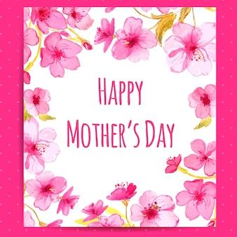 Glückliche muttertagskarte mit kirschblüten-blumenrahmen. vektorlayout mit aquarellblumenkunst.