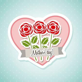 Glückliche muttertagskarte mit rosenvektorillustration
