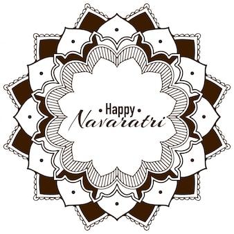 Glückliche navatri grußkarte mit mandala