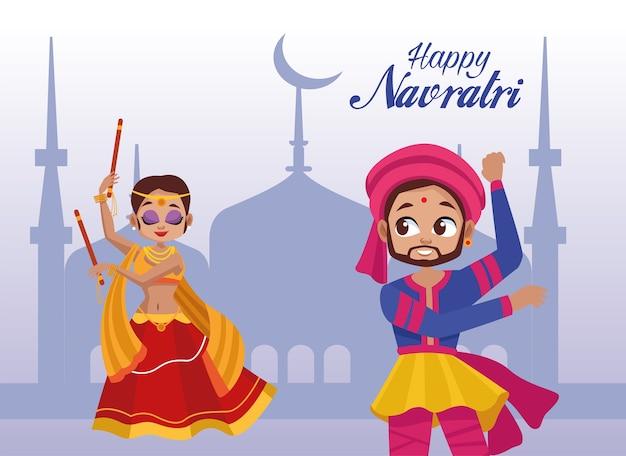 Glückliche navratri-feier mit frau, die tanzt und mann, der trommel spielt