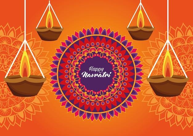 Glückliche navratri feierkarte mit hängenden kerzen und mandala