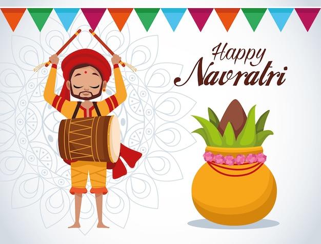 Glückliche navratri-feierkartenbeschriftung mit dem mann, der trommel und pflanze spielt