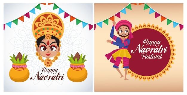 Glückliche navratri-feierkartenbeschriftungen mit der göttin und dem mann, die tanzen