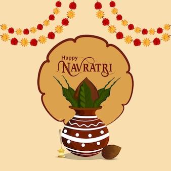 Glückliche navratri-vektorillustration mit kreativer kalash- und girlandenblume