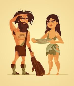 Glückliche neandertaler mann und frau paar karikaturillustration