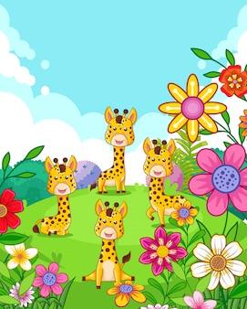 Glückliche nette giraffen mit den blumen, die im garten spielen