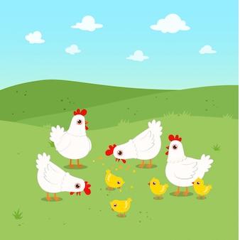 Glückliche nette hühnergruppe auf dem grünen gebiet