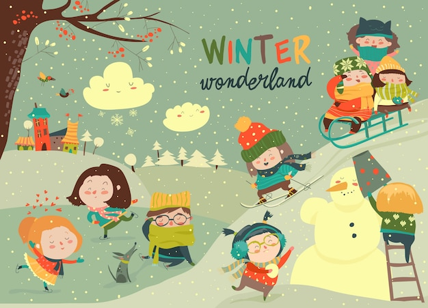 Glückliche nette kinder, die winterspiele spielen