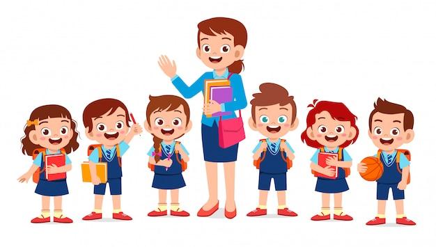Glückliche nette kinder lächeln mit lehrer zusammen