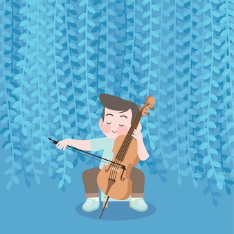 Glückliche nette kinderspielmusikcellovektorillustration