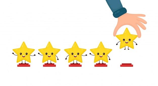 Glückliche nette lächelnde lustige 5 sterne und hand. flache zeichentrickfigur illustration symbol. isoliert auf weiss. niedlicher kawaii charakter, produktbewertung des kunden mit fünf sternen bewertung