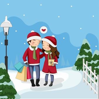 Glückliche nette paare, die sankt-kleid mit geschenken für weihnachtsfest tragen