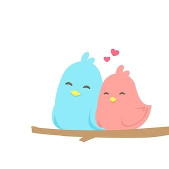 Glückliche nette paare von vögeln in der liebe