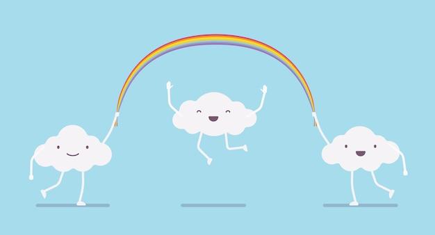 Glückliche nette wolken, die ein langes seil des regenbogens springen
