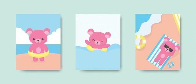 Glückliche niedliche bärenpostkarte oder -plakat am strand in der sommersaison. illustration.