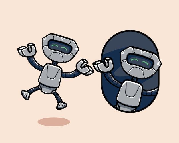Glückliche niedliche karikaturroboter-maskottchenfigur