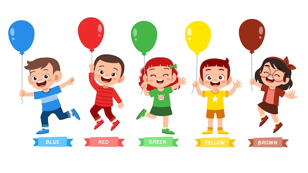 Glückliche niedliche kinderabnutzung viel farbentwurf