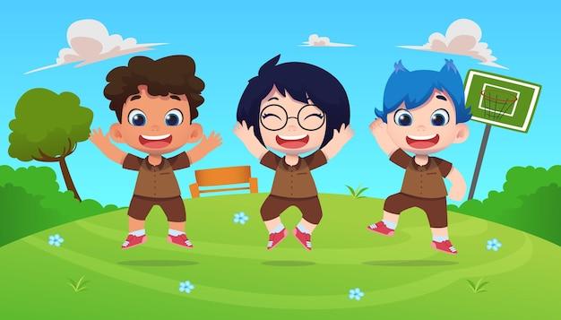 Glückliche niedliche kindercharaktere springen in naturhintergrund im freien