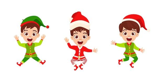 Glückliche niedliche kinderjungen, die springen und winken und fröhliche charismas feiern, lokalisiert auf weißem hintergrund