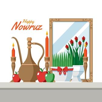 Glückliche nowruz illustration mit sprossen und spiegel