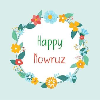 Glückliche nowruz-karte mit buntem frühlingsblumenkranz