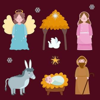 Glückliche offenbarung, heilige mary joseph baby jesus taube esel und engel
