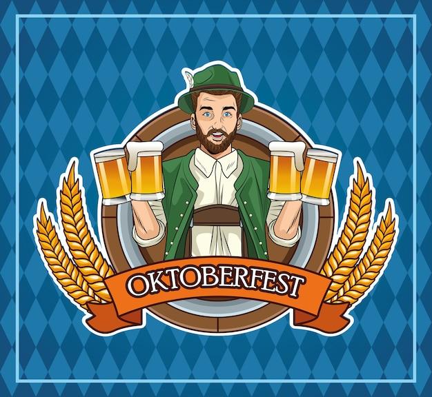 Glückliche oktoberfest-festkarte mit deutschem mann, der bier und flagge trinkt