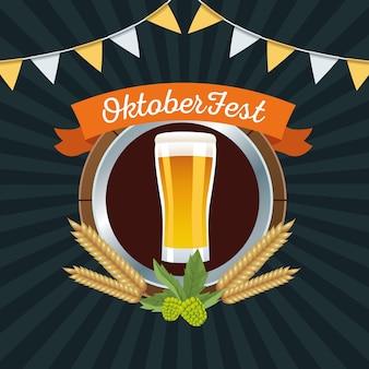 Glückliche oktoberfestfeier mit bierglas im holzrahmenvektorillustrationsentwurf