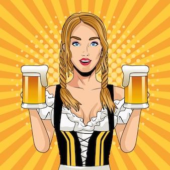 Glückliche oktoberfestfeierkarte mit schöner frau, die bier trinkt