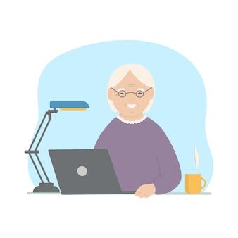Glückliche oma mit laptop. gezeichnete illustration des vektors hand.