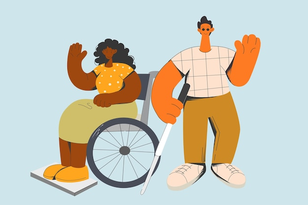 Glückliche optimistische behinderte menschen mit besonderen bedürfnissen