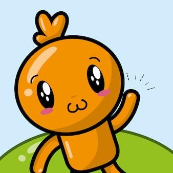 Glückliche orange kawaii-zeichentrickfilm-figur