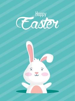 Glückliche osterfeierkarte mit beschriftung und kaninchen