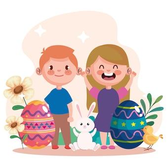 Glückliche osterfeierkarte mit eiern und kleinen kinderpaarillustrationsentwurf