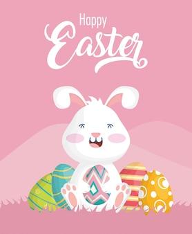 Glückliche osterfeierkarte mit kaninchen und eiern gemalt