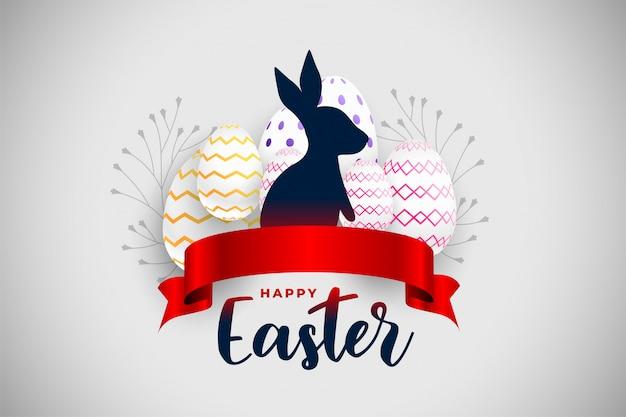 Glückliche osterfestkarte mit rotem band und kaninchen