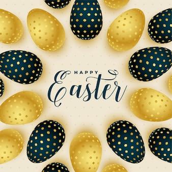 Glückliche ostergrußkarte mit goldenen eiern
