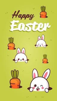 Glückliche ostergrußkarte mit kaninchen, die von den lochbeschriftungsplakatschablone mit niedlichen hasen schauen