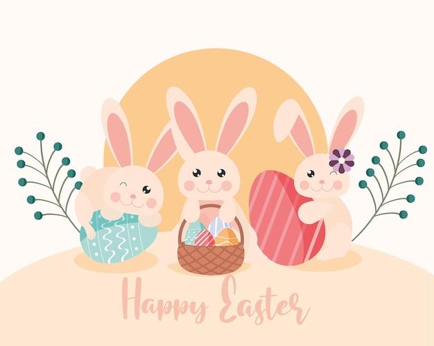 Glückliche ostergrußkarte mit niedlichen kaninchen, ostereiern und blumendekoration