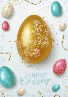 Glückliche ostergrußkarte mit realistischen goldenen, blauen und weißen ostereiern. vektorillustration.