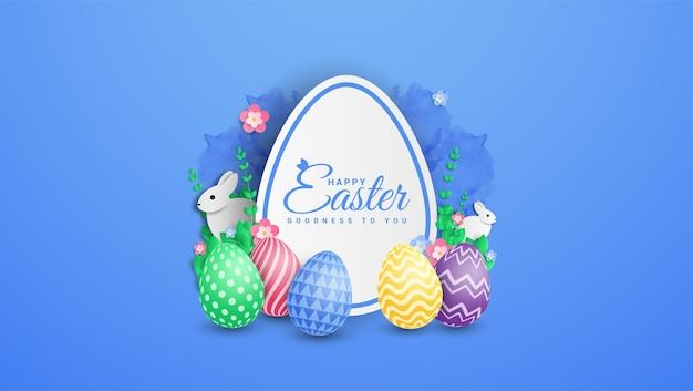 Glückliche osterillustration mit buntem gemaltem ei und kaninchen.