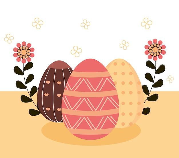 Glückliche osterillustration mit zarten eiern verziert und blumenverzierung