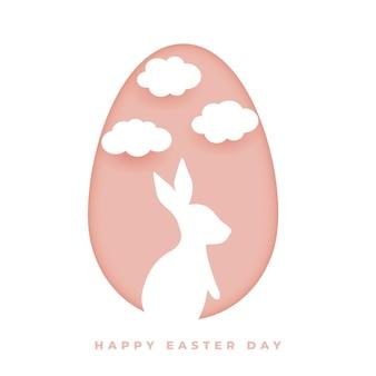 Glückliche osterkarte im papierstil mit kaninchen und wolken