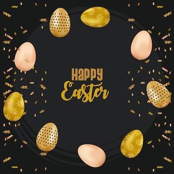Glückliche osterkarte mit beschriftung und goldenen eiern gemaltem vektorillustrationsentwurf
