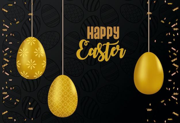 Glückliche osterkarte mit goldenen eiern gemaltes hängendes vektorillustrationsdesign