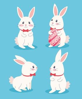 Glückliche ostern-beschriftungskarte mit gemalten eiern und blumenmusterillustration