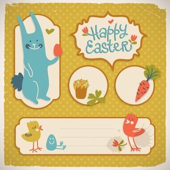 Glückliche ostern-gekritzelkarten mit verschiedenen lustigen symbolen lokalisiert auf tupfenoberflächenvektorillustration